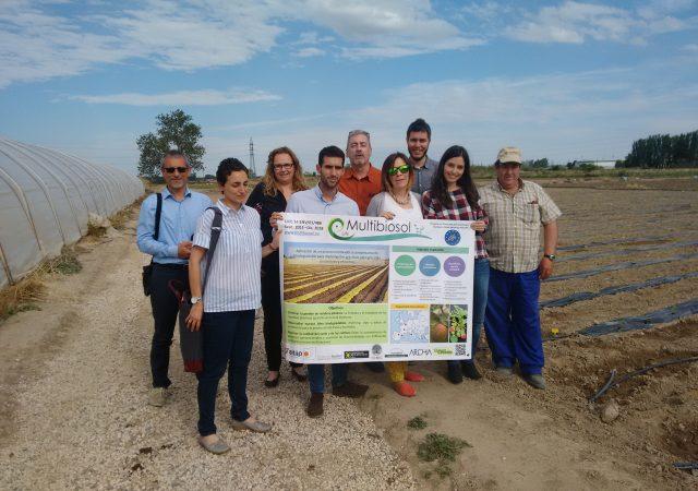 La Comisión Europea visita el campo con mulching biodegradable de LIFE Multibiosol